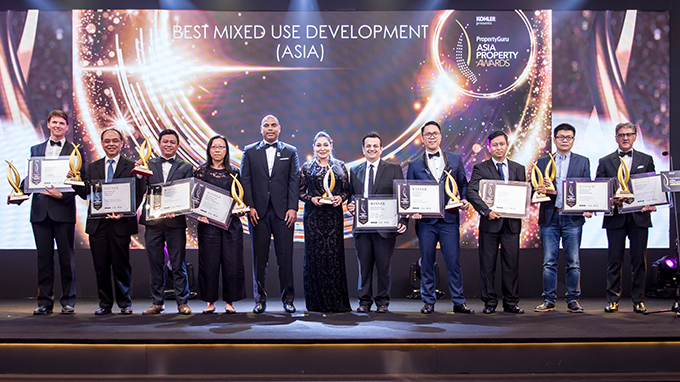 Transworks Square Pvt Ltd team (center) with the award for the Transworks Square Pvt Ltd team (center) with the award for the Best Mixed Use Development Project (Asia) - 'The One', among other award nominees at the Asia Property Awards 2019